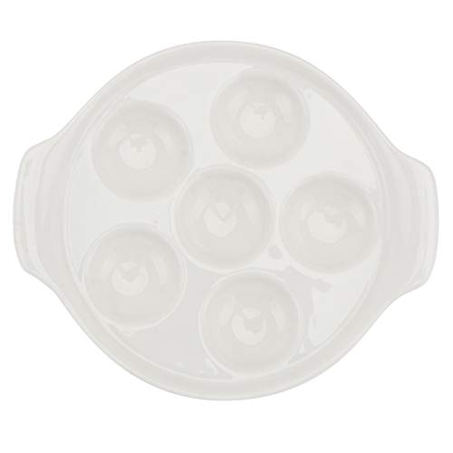 YARDWE White Ceramic Escargot Plates, 6 Compartment Holes Snail Mushroom Escargot Plates Escargot Serving Dishes for Home Restaurant