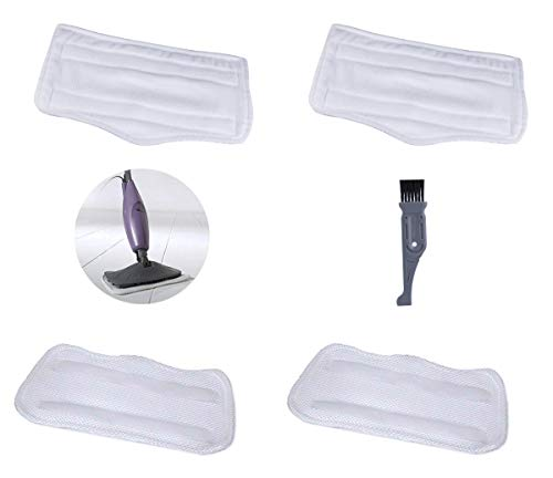 I-clean 4PCS For Euro Pro Shark Steam Mop S3101 S3250 S3251 XT3010,Replacement Shark Washable Microfiber Pads, Vacuum Cleaner Parts With A Free Cleaning Brush