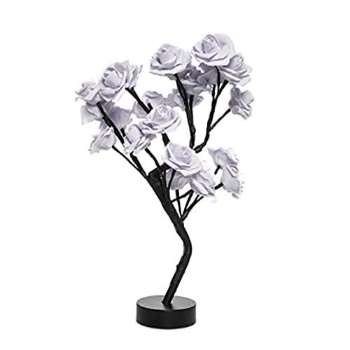 Lámpara de mesa LED con USB, diseño de árbol de flores, decoración para dormitorio, regalo de Navidad, boda, dormitorio