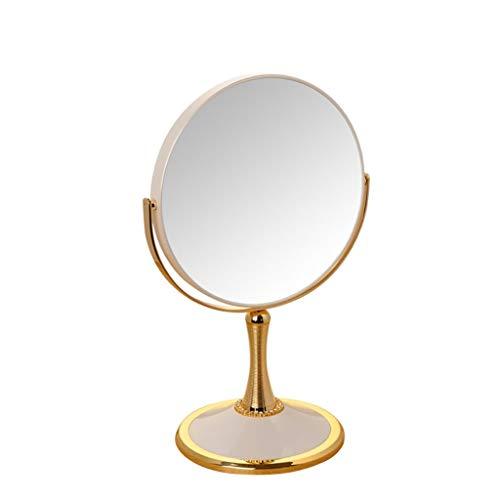 XIMAKEUP 5X Miroir Grossissant Double Chrome Miroir De Meuble sur Pieds 360 ° Tournant Autour De La Salle De Bains Miroir 7 Pouces 8 Pouces Or (Couleur : B, Taille : 7inches)