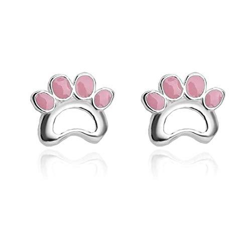 LICHUAN Pendientes de tuerca de plata de ley 925, para mujeres y niñas, amantes de los gatos, accesorio elegante para fiestas