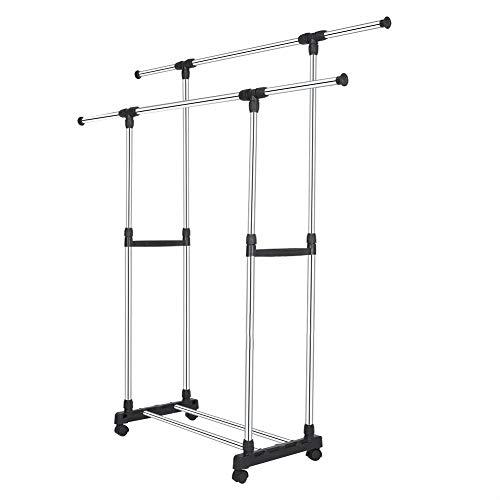 Appendiabiti a 2 aste regolabile, Stand Appendiabiti in acciaio inox di alta qualità, Porta Abiti a doppia barra con ruote