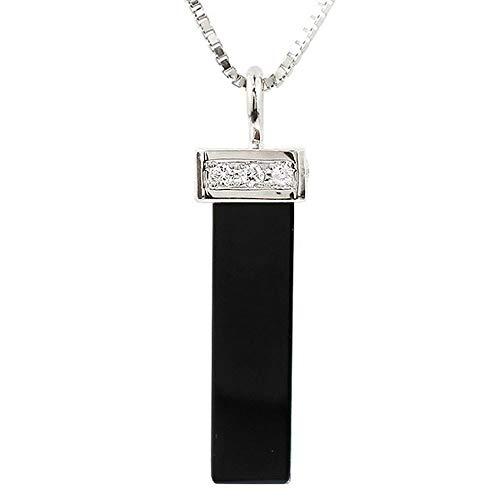 [アトラス] Atrus ネックレス メンズ 18金 ホワイトゴールドk18 オニキス ダイヤモンド バーネックレス ペンダント チェーン(sv925シルバー)