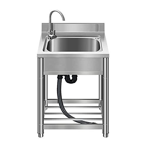 PWQ Fregadero Cocina Comercial de Acero Inoxidable de 1 Compartimento, Fregaderos Industriales, con Grifo de Cocina, Tamaño de la Tina Interior de 33 * 43 * 20 cm, para Exterior, Interior