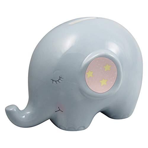 perla pd design Spardose aus Porzellan mit Elefantenmotiv Höhe ca. 11.2 cm