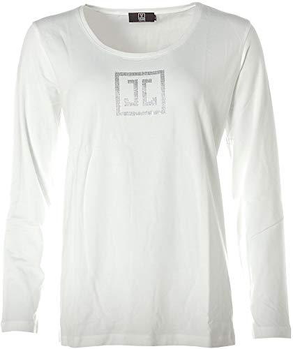 JETTE Damen Langarm Shirt Strass Glitzer Weiß 44