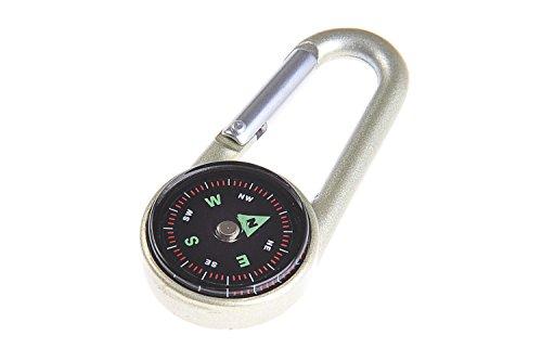 Huntington Clip Kompass: Kleiner Karabinerhaken-Kompass und Thermometer, flüssigkeitsgedämpfte Anzeige im Metallgehäuse aus Aluminium, golden, 69 x 30 x 18 mm, DC27T2-01 (DE)