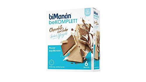 biManán beKOMPLETT - Barquillos con Chocolate con leche rellenos de crema sabor yogur. Ricos en fibra -Caja de 6 unidades