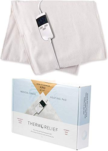 """Extra Large Moist Heating Pad with Auto Shut Off for Cramps and Back Pain by ThermoRelief - Extra Hot Medical Grade Digital Electric Pad – King Size (26"""" x 14"""")"""