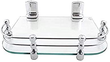 Logger Toughened Glass Multi-Purpose Shelf Set Top Box Stand with Heavy Wall Brackets (12X9 Inch)