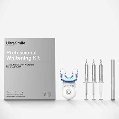 UltraSmile professionelle Zahnaufhellung ohne Peroxid Whitening Set für Zuhause I Bleaching Set LED auf Zahnarztniveau I Zahnbleichung Set mit Schiene und 3x5ml weiße zähne Gel plus Zahnweiss Pen