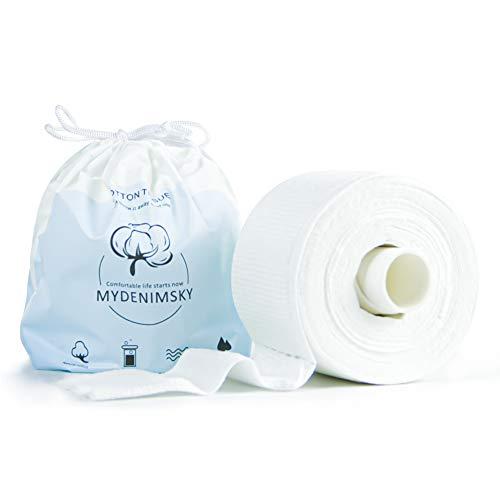 MYDENIMSKY 100% algodón desechable toalla de limpieza facial, maquillaje de uñas de ojos faciales, tejido de algodón, almohadillas de algodón reutilizables, uso húmedo y seco, 1 rollo de 80 unidades
