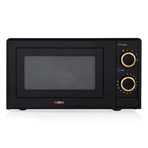 Tower T24029RG 17L Manual Microwave with 700W Power Output and 6 Power Levels, Black and Rose Gold
