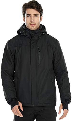 FREE SOLDIER Men's Waterproof Ski Snow Jacket Fleece Lined Warm Winter Rain Jacket with Hood(Black,M)