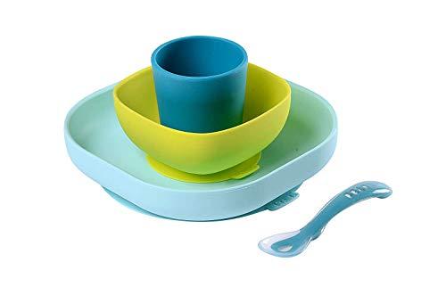 BÉABA, Set Vaisselle Silicone, Assiette et Bol Ventouse  + cuillère - Pour Bébé et Enfants, 4 Pièces, Bleu