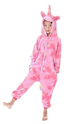 Pijama Unicornio, Kinderkinder Niedliche Cartoon-Tier Flanellpyjama Cosplay Sleepwear-Parteikostüm … (L:110cm-120cm, Unicornio Rosa)