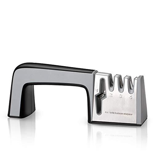 Wodasi Afilador de Cuchillos, 4 en 1 Knife Sharpener, Afilar Cuchillos con Base Antideslizante, Afilador Cuchillos de Cocina, Afilador de Cuchillos Profesional, Diseño Antideslizante