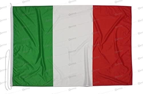 Bandiera Italia 225x150 cm in tessuto nautico antivento da 115g/m², bandiera istituzionale Italiana 225x150,bandiera d'Italia 225x150cm con cordino,doppia cucitura perimetrale e fettuccia di rinforzo