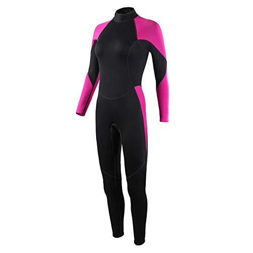 2021 Nuevo Traje de Neopreno para Mujer, Neopreno de 2mm Ultraelástico Impermeable Traje de Buceo de Surf de Invierno con Cremallera Trasera,Pink-M