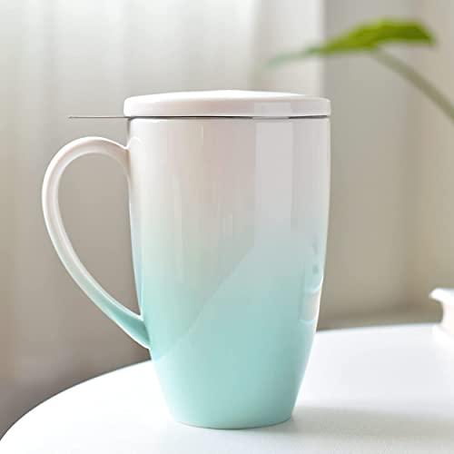 TEANAGOO M018-G Keramik-Teetasse mit Aufguss & Deckel, 16 OZ, Grün, Reiseteegeschirr mit Filter, Teetassen-Steilmacher, Brühsieb für Loseblatt-Tee, Diffusor One Set Tea Lover Gift