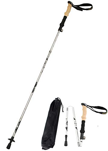 Alafen Aluminum Collapsible Ultralight Travel Walking Hike Stick Trekking Pole for Men and Women (Silver)