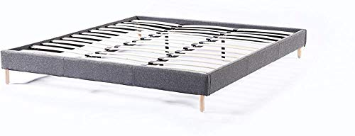 Non-Woven Gray Double futon Bed Covered with Bed Springs and Rugged Wooden feet Simple Fashion Style,90 * 190cm