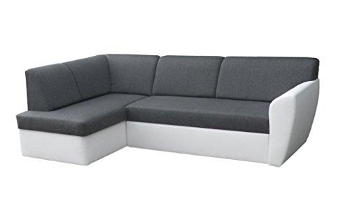mb-moebel Ecksofa Sofa Eckcouch Couch mit Schlaffunktion und Bettkasten Ottomane L-Form Schlafsofa Polstergarnitur Margo (Ecksofa Links, Dunkelgrau)