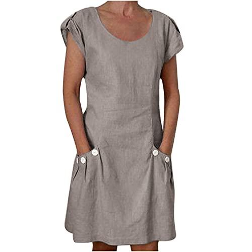 LOIAZD Vestidos de Verano Señoras Más El Tamaño,Vestidos de Mujer, Maxi Vestido Suelto Manga Larga Retro Lino Algodón Vestidos