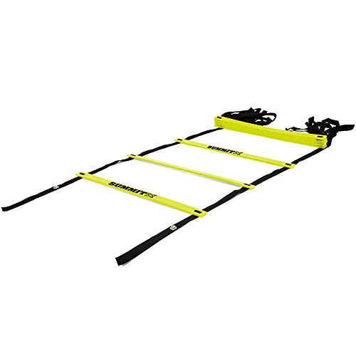 Summit Adjustable Agility Ladder - Agility Speed and Balance Training Fitness Ladder for All Ages – 10 Strips 13ft - Included Carry Bag