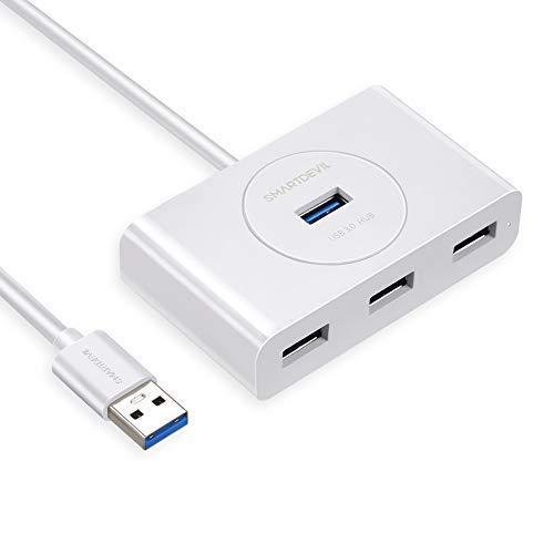 SmartDevil Hub USB 3.0 4 Porte 5Gbps con Cavo USB 3.0 da 1M LED, Hub Multiporta USB Supporta Windows, Mac OS, Linux Compatibile con MacBook, PS4, Xbox 360 One One S ECC (Bianco)