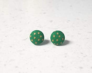 Kelly green with gold dots fabric button earrings
