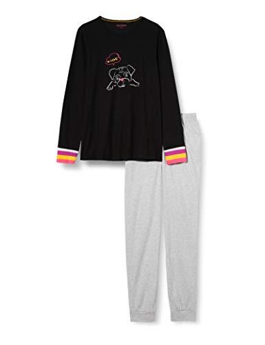 Schiesser Mädchen Schlafanzug lang Pyjamaset, schwarz, 140