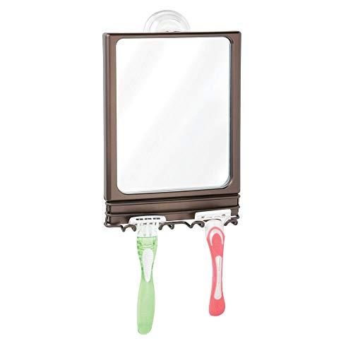 mDesign Rasierspiegel mit Saugnapf – stilvoller Badspiegel aus Edelstahl und Kunststoff – Duschspiegel mit 2 praktischen Haken für Rasierer – bronzefarben