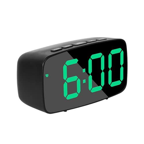 QYYL Reloj Despertador Digital, LED Pantalla Reloj Alarma Inteligente con Temperatura y Función Despertado, USB y Funciona con Pilas, para Dormitorio Oficina y Viajes (Green/1)