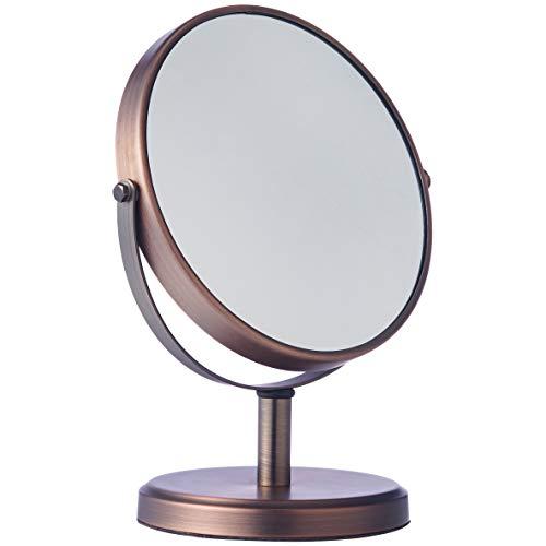 Amazon Basics – Espejo de doble cara para lavabo con mueble de baño, estilo moderno, Bronce