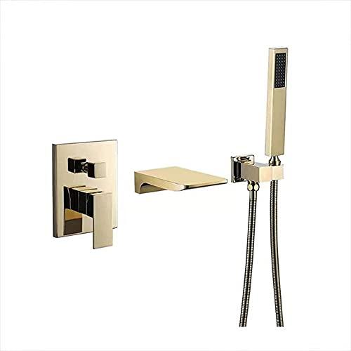 FGVBC Badewannenarmatur mit Messing-Handbrause Wandbrausegarnitur Wasserfall Wannenfüller Wasserhahn, Einhebel-Badezimmer-Duschsystem mit heißem und kaltem Wasser, Gold gebürstet
