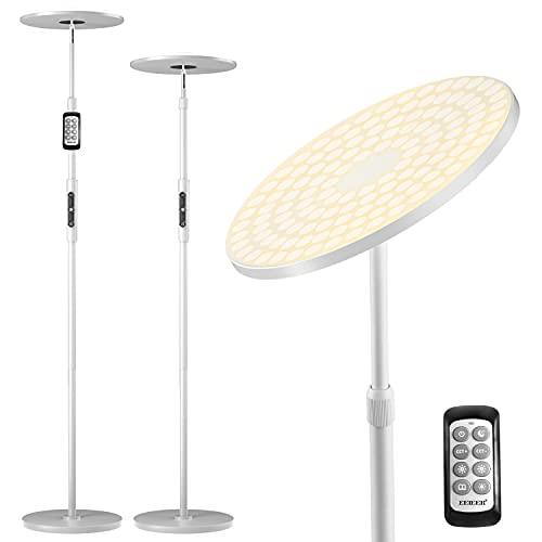 Stehlampe LED Dimmbar, EEIEER Stehlampe Moderne Deckenfluter LED Standleuchte Stufenlos Dimmbar 3000LM Stehleuchte, Einziehbare Stange Fernbedienung&Knob Control für Wohnzimmer Schlafzimmer Büro
