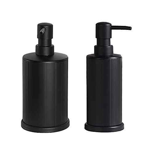 Grevis Juego de 2 dispensadores de jabón y loción para cocina, baño y mostrador, rellenables, color negro
