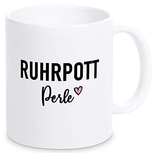 Pottbude Tasse mit Spruch Ruhrpott Perle, Kaffeebecher mit toller Botschaft als Geschenk für die Freundin oder Kollegin, Mutter oder Oma - spülmaschinenfest (weiß)