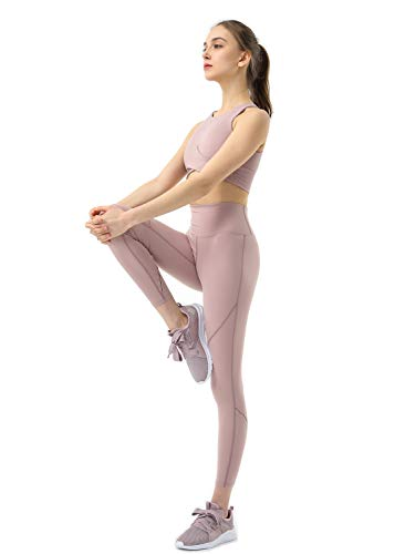 Eagool Damen Workout Sets 2-teilige Outfits Yoga-Leggings mit hoher Taille und Sport-BH-Sportkleidung Mittel Rosa