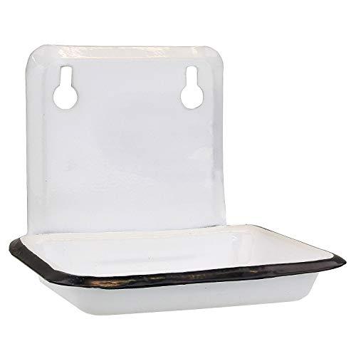 MACOSA SA05500 zeepbakje wit emaille vintage-stijl zeephouder zeepbakje wandmontage zeephouder badkamer keuken zeep bewaren
