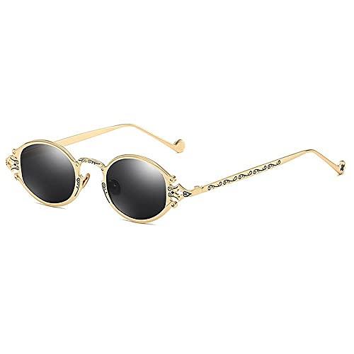 JIYANANDPNTYJ Gafas De Sol Mujer Pequeñas Gafas de Sol Punk ovaladas Damas Retro Gafas de Sol de Metal Damas (Lenses Color : Golden Black)
