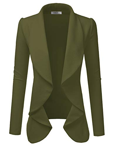 Doublju Classic Draped Open Front Blazer for Women with Plus Size Olive Large