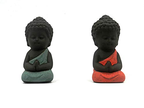 Tea Pet for Chinese Kungfu Tea Tray (Zisha Tea Pet Water Tea Tray Pet Accessories) Buddha Dharma Tea Pet A Perfect Gigt for Tea Lovers 2pcs blue and yellow (green and red)