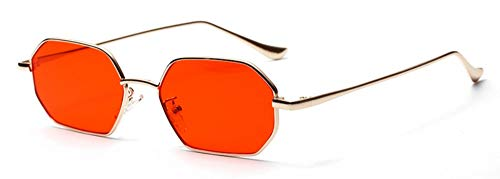 WDDYYBF zonnebril, rechthoekig, kleine zonnebril, heren-zonnebril, metalen frame, polyrotan glazen, rood