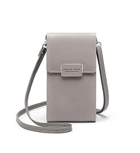 Machao Damen kleine umhängetasche beutel-handy-geldbeutel-schultertasche trendy smartphone-geldbörse mit kreditkartensteckplätzen einheitsgröße 304-grau