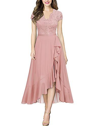 MIUSOL Damen Spitzenkleid Hüfte öffnen Abendkleid Cap Ärmel Cocktailkleid Maxi Partykleid Rosa L