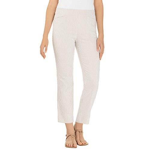 Hilary Radley Ladies' Seersucker Pull-On Ankle Pant (X-Large, Beige)