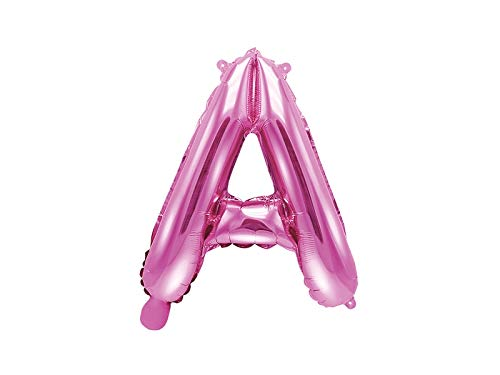 SiDeSo® Folienballon 35cm ROSA Heliumgeeignet Party Geburtstag Jahrestag Hochzeitstag Jubiläum Zahlenluftballon Luftballon Buchstabe Zahl Alphabet (Buchstabe A)