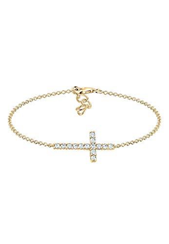 Elli Armband Damen Kreuz mit Swarovski® Kristalle in 925 Sterling Silber vergoldet